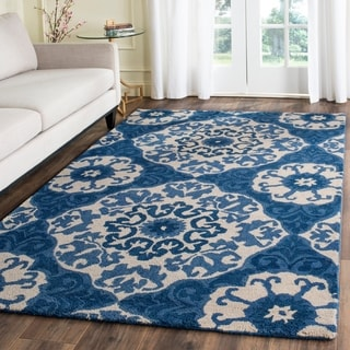 Safavieh Handmade Roslyn Blue/ Ivory Wool Rug (5' x 8')