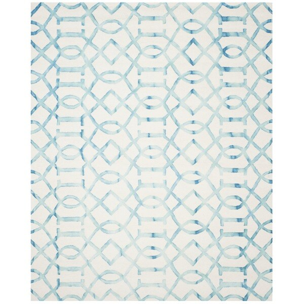 Safavieh Hand-Tufted Dip Dye Ivory/ Turquoise Wool Rug (5' x 8')