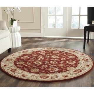 Safavieh Hand-Tufted Stratford Red/ Beige N.Z. Wool Rug (5' Round)