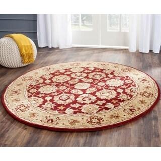 Safavieh Hand-Tufted Stratford Red/ Ivory N.Z. Wool Rug (5' Round)