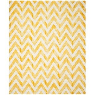 Safavieh Hand-Tufted Dip Dye Ivory/ Gold Wool Rug (9' x 12')