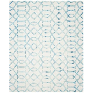 Safavieh Hand-Tufted Dip Dye Ivory/ Turquoise Wool Rug (9' x 12')
