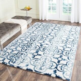 Safavieh Hand-Tufted Dip Dye Ivory/ Navy Wool Rug (6' x 9')