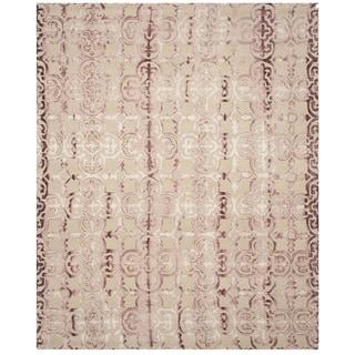 Safavieh Hand-Tufted Dip Dye Beige/ Maroon Wool Rug (9' x 12')