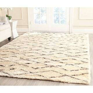 Safavieh Hand-Tufted Casablanca Shag White/ Brown N.Z. Wool Rug (10' x 14')