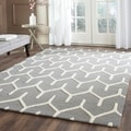 Safavieh Hand-Tufted Cambridge Dark Grey/ Ivory Wool Rug (6' x 9')