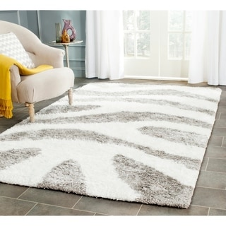 Safavieh Hand-Tufted Barcelona Shag Ivory/ Silver Polyester Rug (9' x 12')