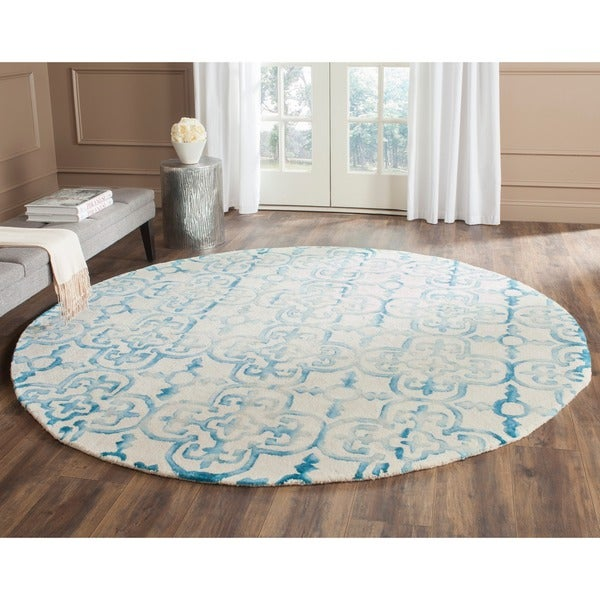 Safavieh Dip Dye Gray Turquoise Area Rug Reviews: Safavieh Handmade Dip Dye Ivory/ Turquoise Wool Rug (7' Round