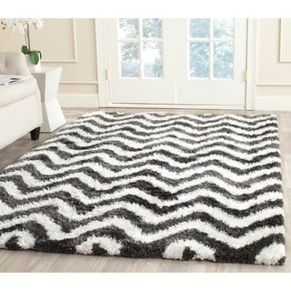 Safavieh Hand-Tufted Barcelona Shag Graphite/ Ivory Polyester Rug (9' x 12')