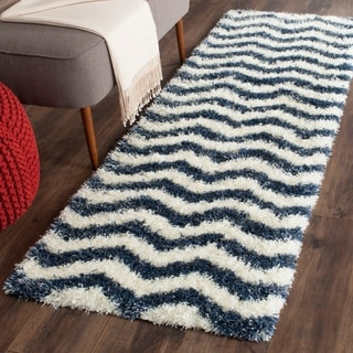 Safavieh Montreal Shag Ivory/ Blue / Polyester Rug (2'3 x 7')