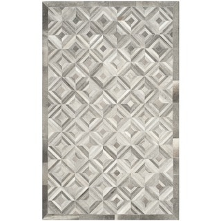 Safavieh Handmade Studio Leather 200 Grey Leather Rug (5' x 8')
