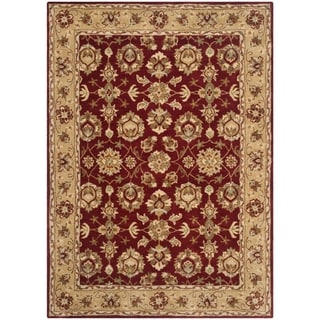 Safavieh Hand-Tufted Stratford Red/ Ivory N.Z. Wool Rug (5' x 7')