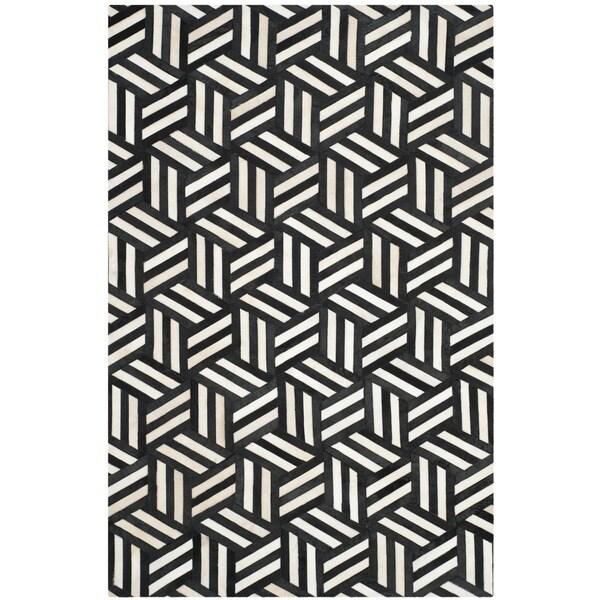 Safavieh Handmade Studio Leather 200 Ivory/ Black Leather Rug (5' x 8')
