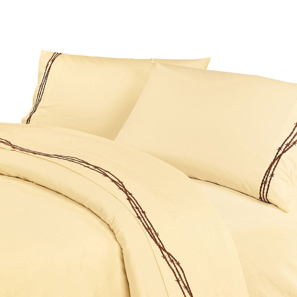 HiEnd Accents Embroidered Barbwire Sheet Set
