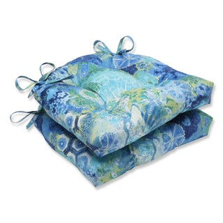 Pillow Perfect Windflower Sapphire Reversible Chair Pad (Set of 2)