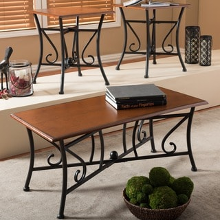 Liz Wood and Metal 3-Piece Contemporary Table Set