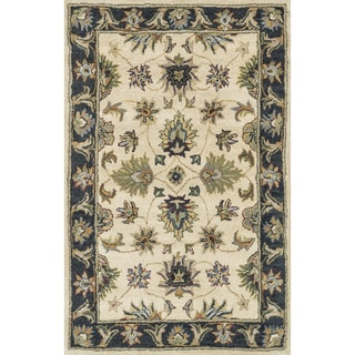 Hand-tufted Mason Beige/ Black Wool Rug (3'6 x 5'6)