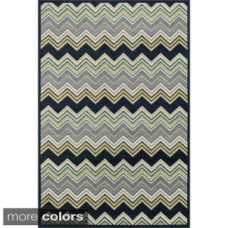 Indoor/ Outdoor Palm Chevron Striped Rug (9'2 X 12'1)