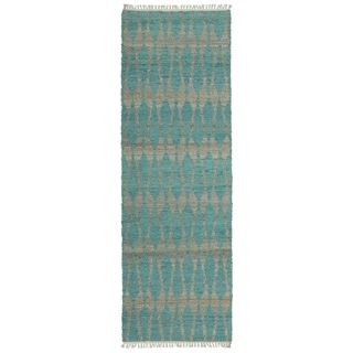 Handmade Teal Natural Fiber Canyon Rug (2'6 x 8'0)