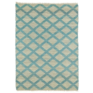 Handmade Natural Fiber Canyon Teal Lattice Rug (7'6 x 9'0)