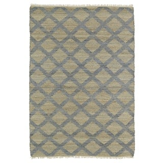 Handmade Natural Fiber Canyon Slate Lattice Rug (7'6 x 9'0)