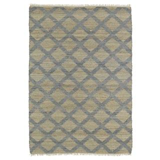 Handmade Natural Fiber Canyon Slate Lattice Rug (7'6 x 9'0)