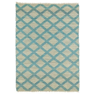 Handmade Natural Fiber Canyon Teal Lattice Rug (8'0 x 11'0)