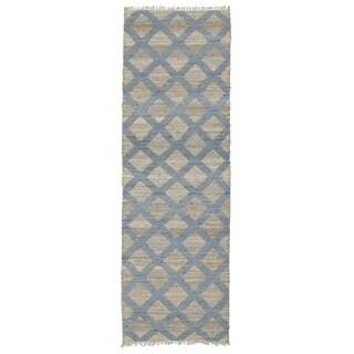 Handmade Natural Fiber Canyon Slate Lattice Rug (2'6 x 8'0)