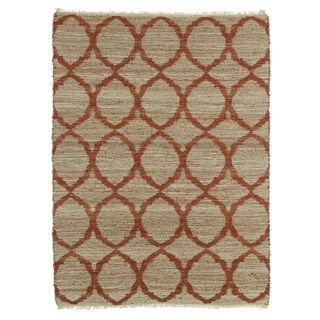 Handmade Natural Fiber Canyon Rust Lattice Rug (2'0 x 3'0)