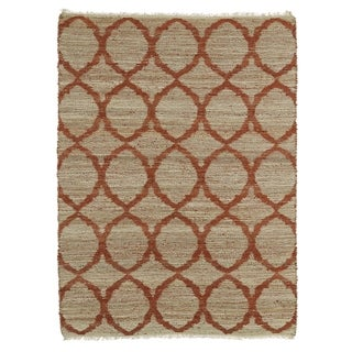 Handmade Natural Fiber Canyon Rust Lattice Rug (7'6 x 9'0)
