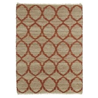 Handmade Natural Fiber Canyon Rust Lattice Rug (7'6 x 9'0)