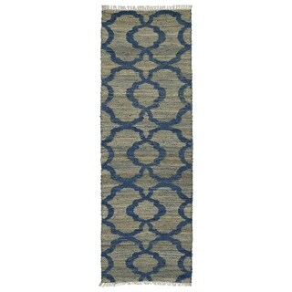 Handmade Natural Fiber Canyon Blue Trellis Rug (2'0 x 6'0)
