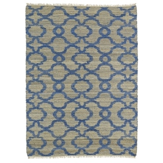 Handmade Natural Fiber Canyon Blue Trellis Rug (3'6 x 5'6)
