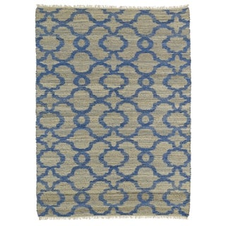 Handmade Natural Fiber Canyon Blue Trellis Rug (7'6 x 9'0)