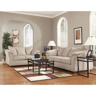 Art Van Stone Microsuede Sofa and Loveseat Set