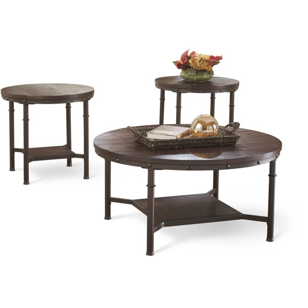 art van 3 piece round occasional table set