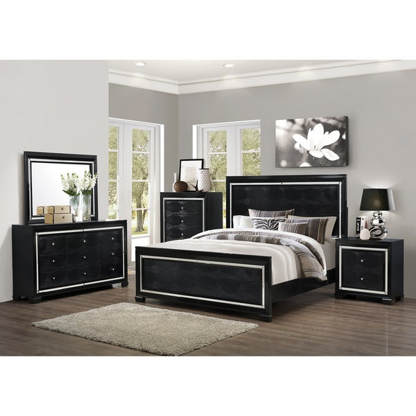 Art Van 6 Piece Black Crocodile Finish Queen Bedroom Set 17101608 Oversto