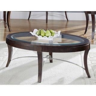 Art Van Avalon Dark Truffle Finish Oval Cocktail Table