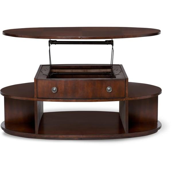 Art van metropolitan cherry finish oval lift top cocktail for Art van coffee tables