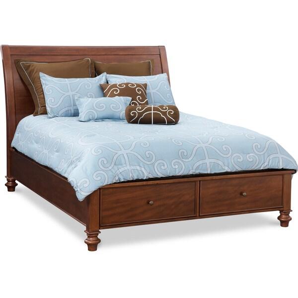 Art Van Avila Queen Sleigh Storage Bed Cherry Finish
