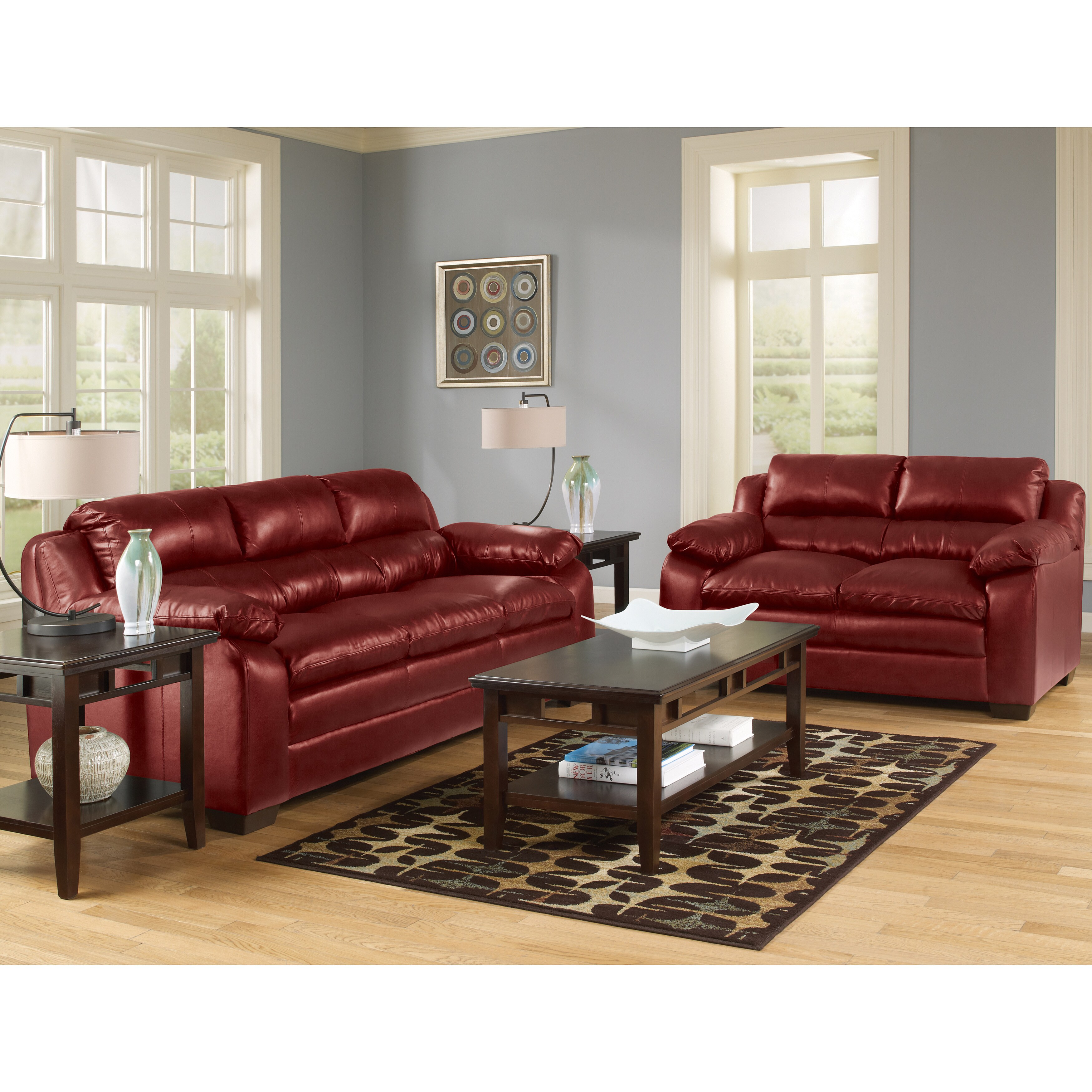 Art van maddox sofa and loveseat set red overstock for Red sectional sofa art van