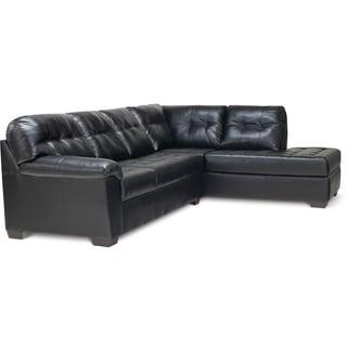 Art Van Soho 2-piece Black Blended Leather Sectional Sofa