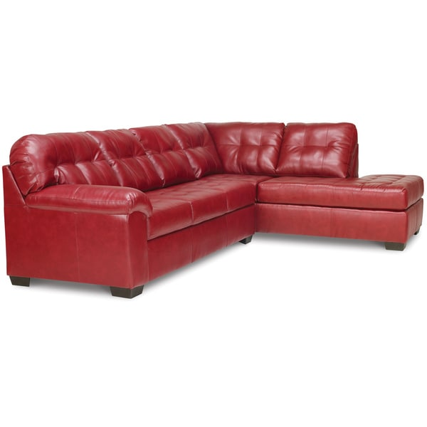 Art van soho 2 piece sleeper sectional in red 17103564 for Sectional sofa art van