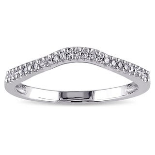 Miadora 14k White Gold 1/10ct TDW Diamond Contour Wedding Band (G-H, I1-I2)