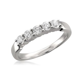 18k White Gold 1/2ct TDW Round-Cut Diamond Wedding Band (F-G, VS1-VS2)