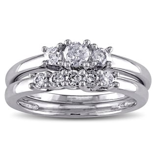 Miadora 10k White Gold 2/5ct TDW Diamond Bridal Ring Set (G-H, I2-I3)