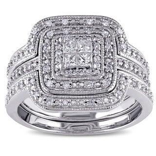Miadora Sterling Silver 3/8ct TDW Princess and round-cut Diamond 3-piece Halo Bridal Ring Set (G-H, I2-I3)