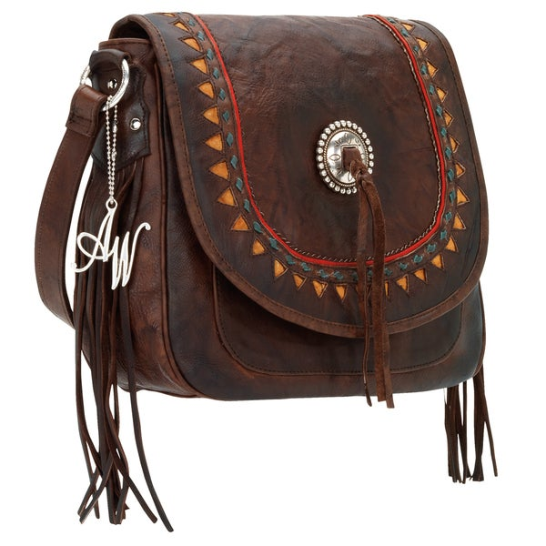 American West Tribal Trade Collection Brown Leather Flip Messenger Bag
