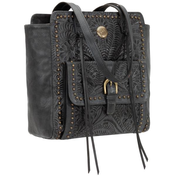 American West Shane Blue Steel Leather Tote Bag