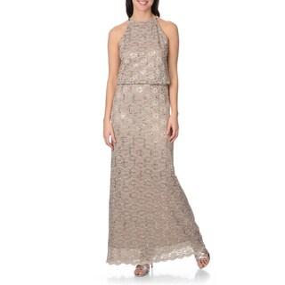 R&M Richards Women's Sequined Lace Blouson Chain Halter Gown